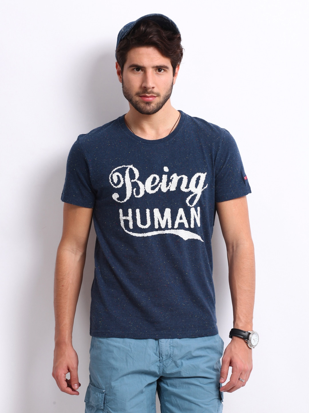 Buy being human clothing men navy blue t shirt 289 for Buy being human t shirts online