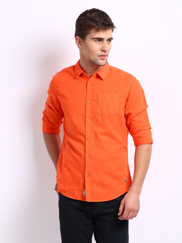 Buy being human clothing men orange slim fit linen blend for Orange polo shirt mens