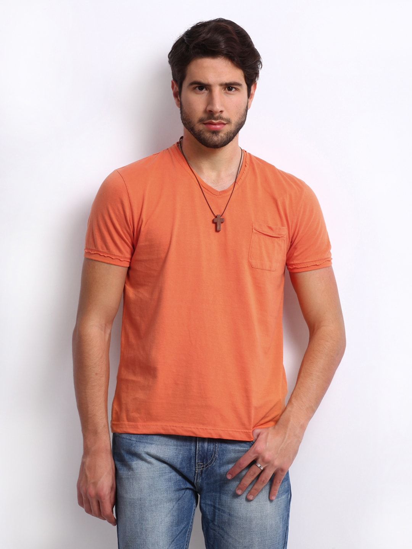Buy being human clothing men orange t shirt 289 for Buy being human t shirts online