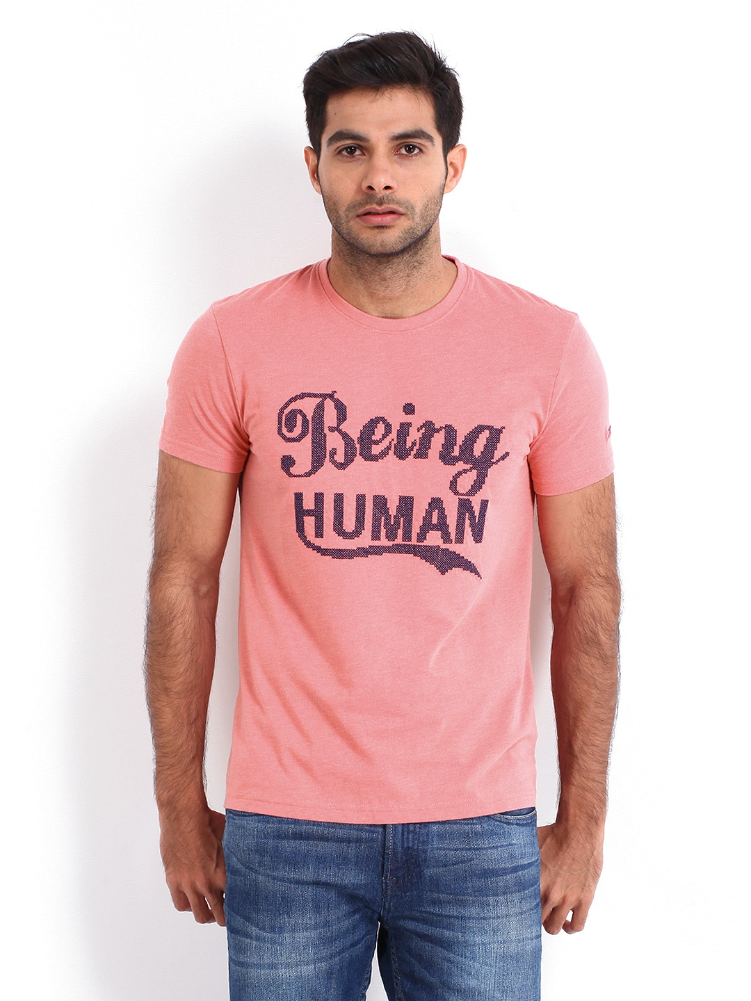 Buy being human clothing men pink t shirt 289 apparel for Buy being human t shirts online