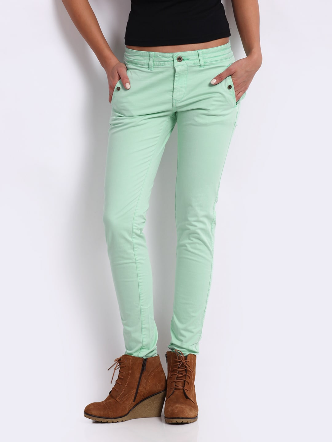 Being Human Clothing Women Mint Green Slim Fit Chino Trousers (multicolor)