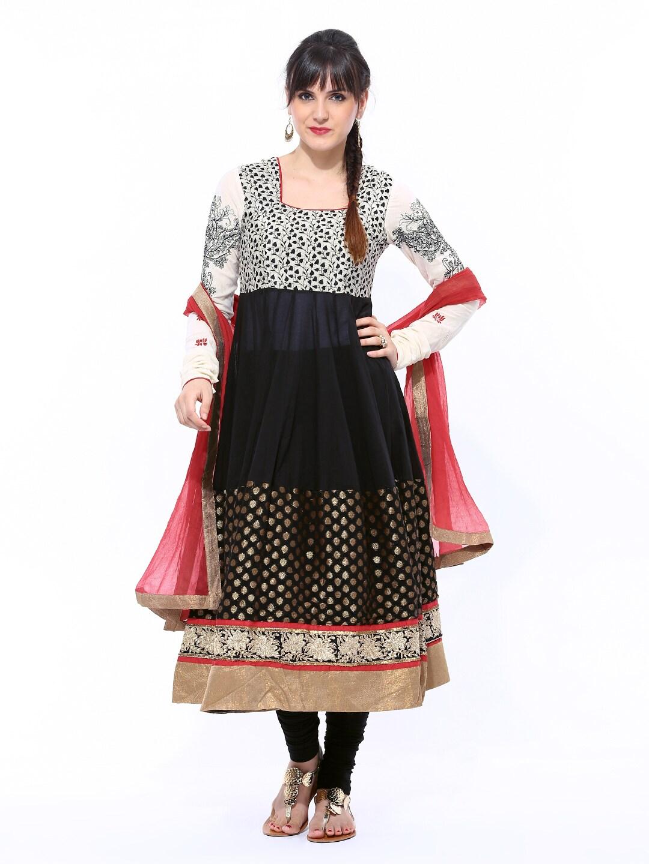 99ca8f5faba BIBA Women Off-White   Black Printed Anarkali Churidar Kurta with Dupatta  (multicolor)