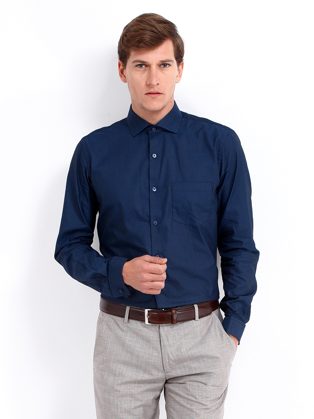The Gallery For Formal Blue Shirt For Men