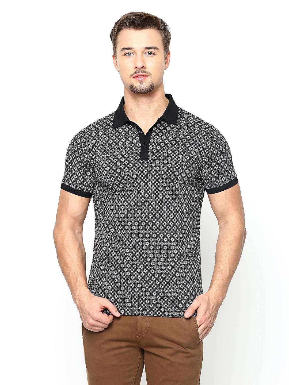 Blackberrys Blackberrys Men Black Printed Polo T-Shirt (Multicolor)