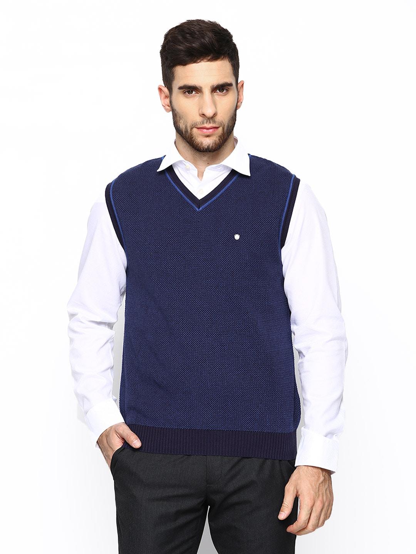 Blackberrys Blackberrys Men Blue Sleeveless Sweater