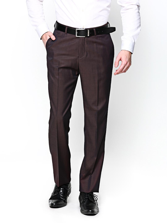 Blackberrys Men Burgundy Wool Blend Sharp Fit Formal Trousers