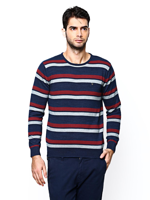 Blackberrys Blackberrys Men Multicoloured Striped Sweater (Multicolor)