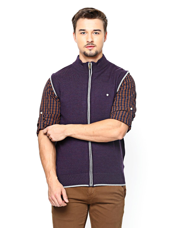 Blackberrys Blackberrys Men Purple Merino Wool Blend Sleeveless Sweater (Violet)