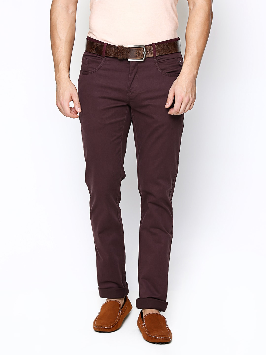 Blackberrys Men Burgundy Sharp Fit Trousers