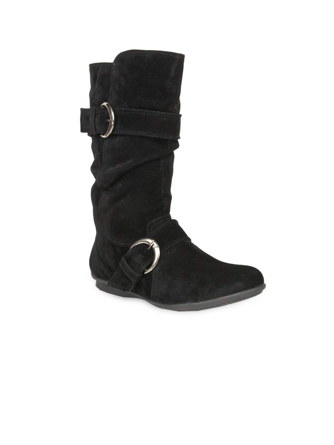 Bruno Manetti Women Black Suede Flat Boots