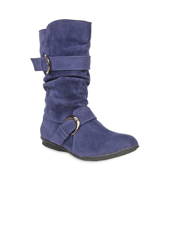 Bruno Manetti Women Navy Blue Suede Flat Boots