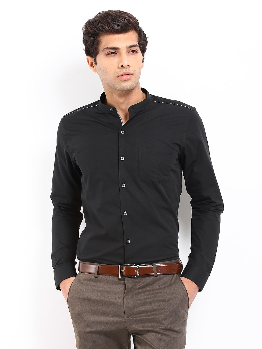 Buy Code Men Black Slim Fit Smart-Casual Shirt 1282425 for online ...
