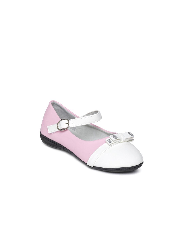 CUTECUMBER Girls Pink & White Mary Janes