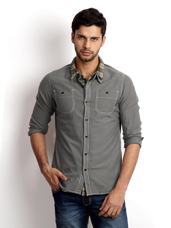 buy calvin klein jeans men grey casual shirt 320
