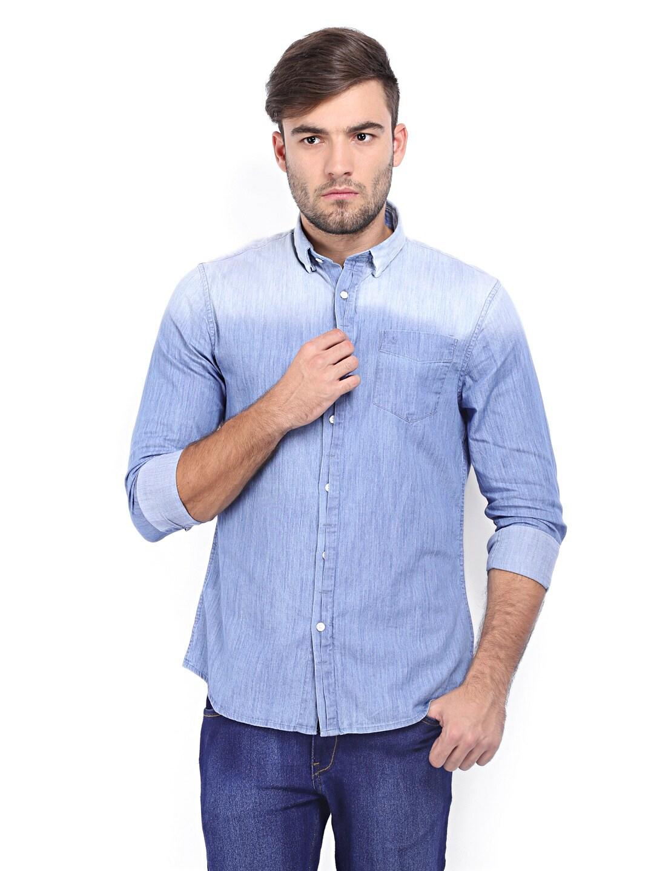 Calvin Klein Jeans Men Blue Denim Casual Shirt