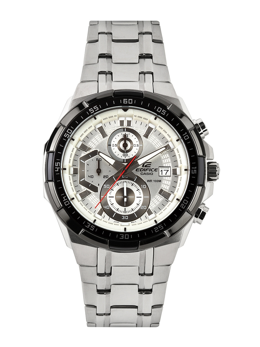 CASIO Edifice Men Silver-Toned Dial Chronograph Watch EX192