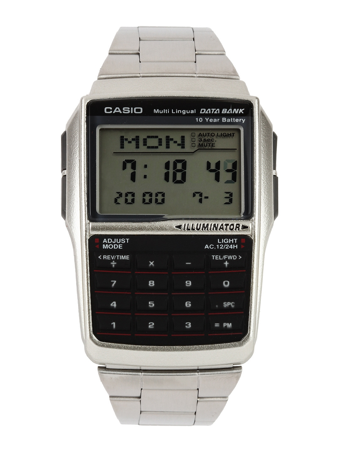 CASIO Youth Series Men Silver-Toned Digital Watch Cum Calculator DB36