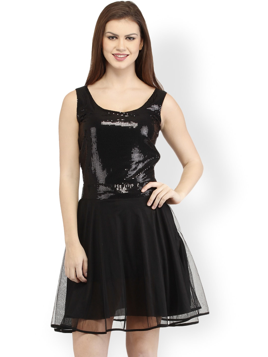 Cation Black Sequinned Fit & Flare Dress