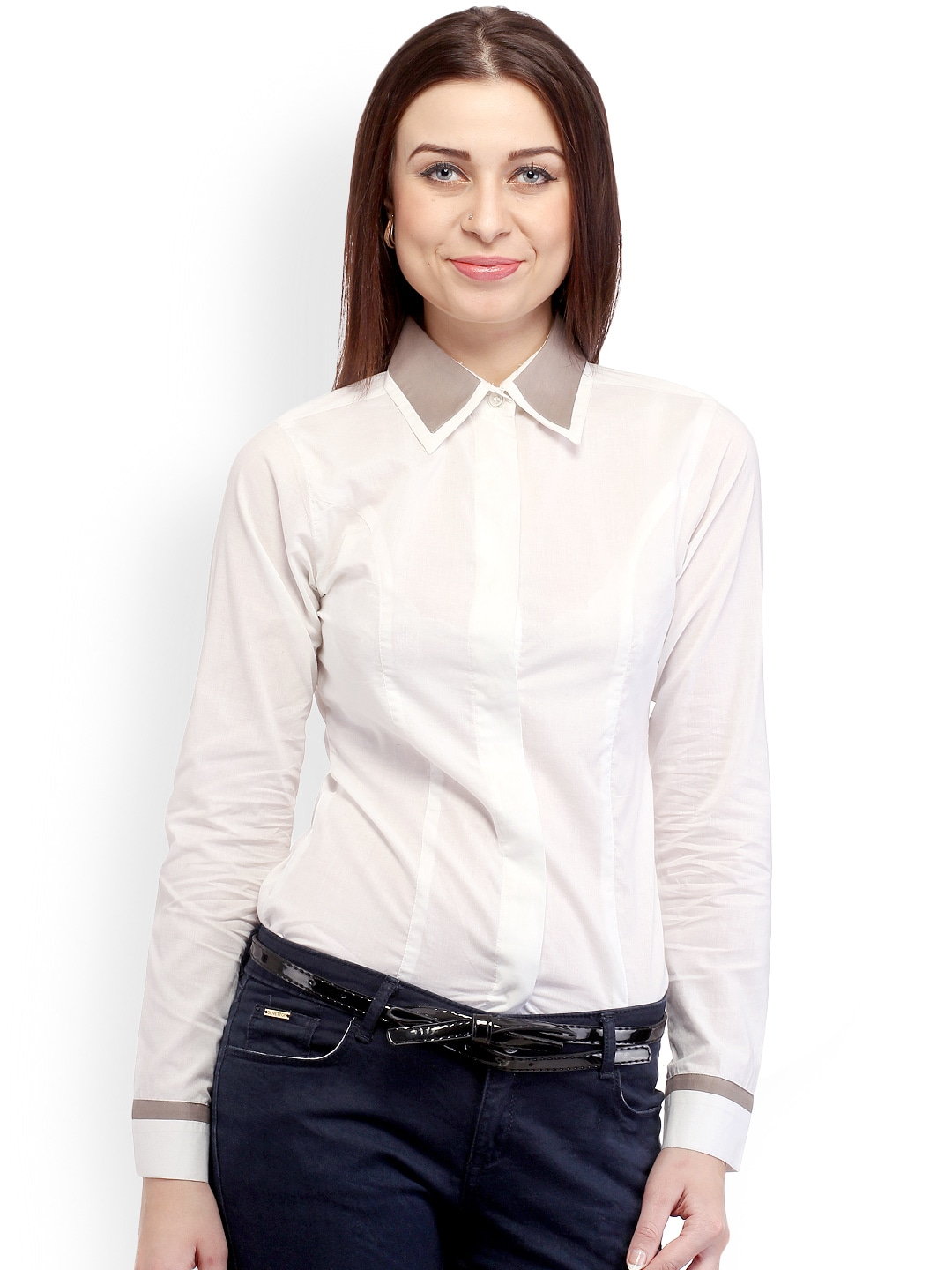 Cation Women White Smart Casual Shirt