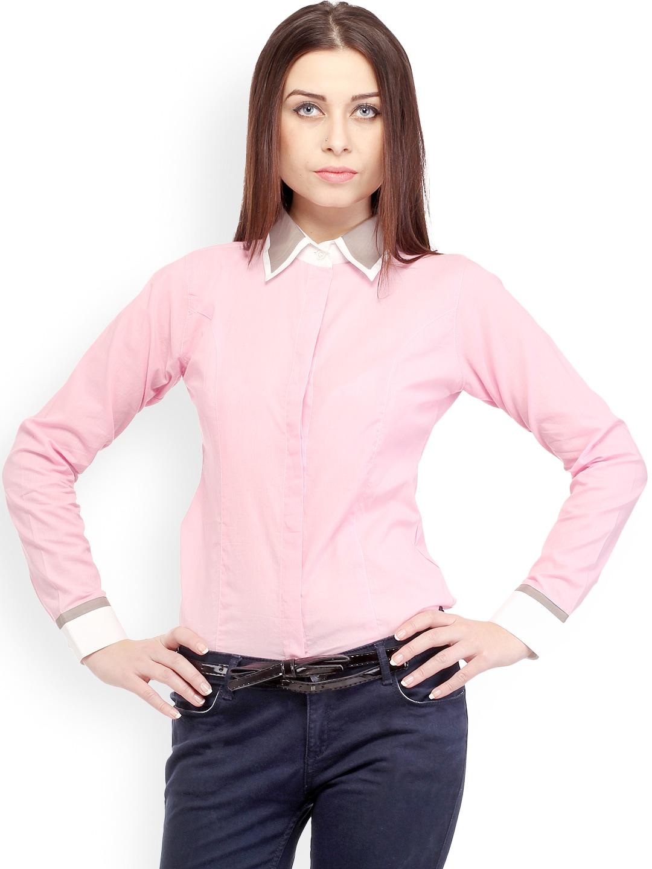 Cation Women Pink Smart Casual Shirt