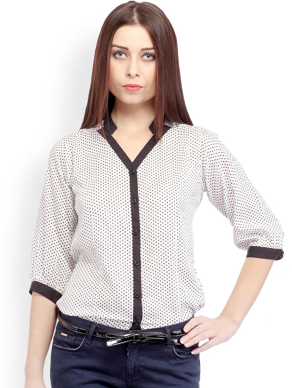 Cation Women White Polka Dot Printed Casual Shirt