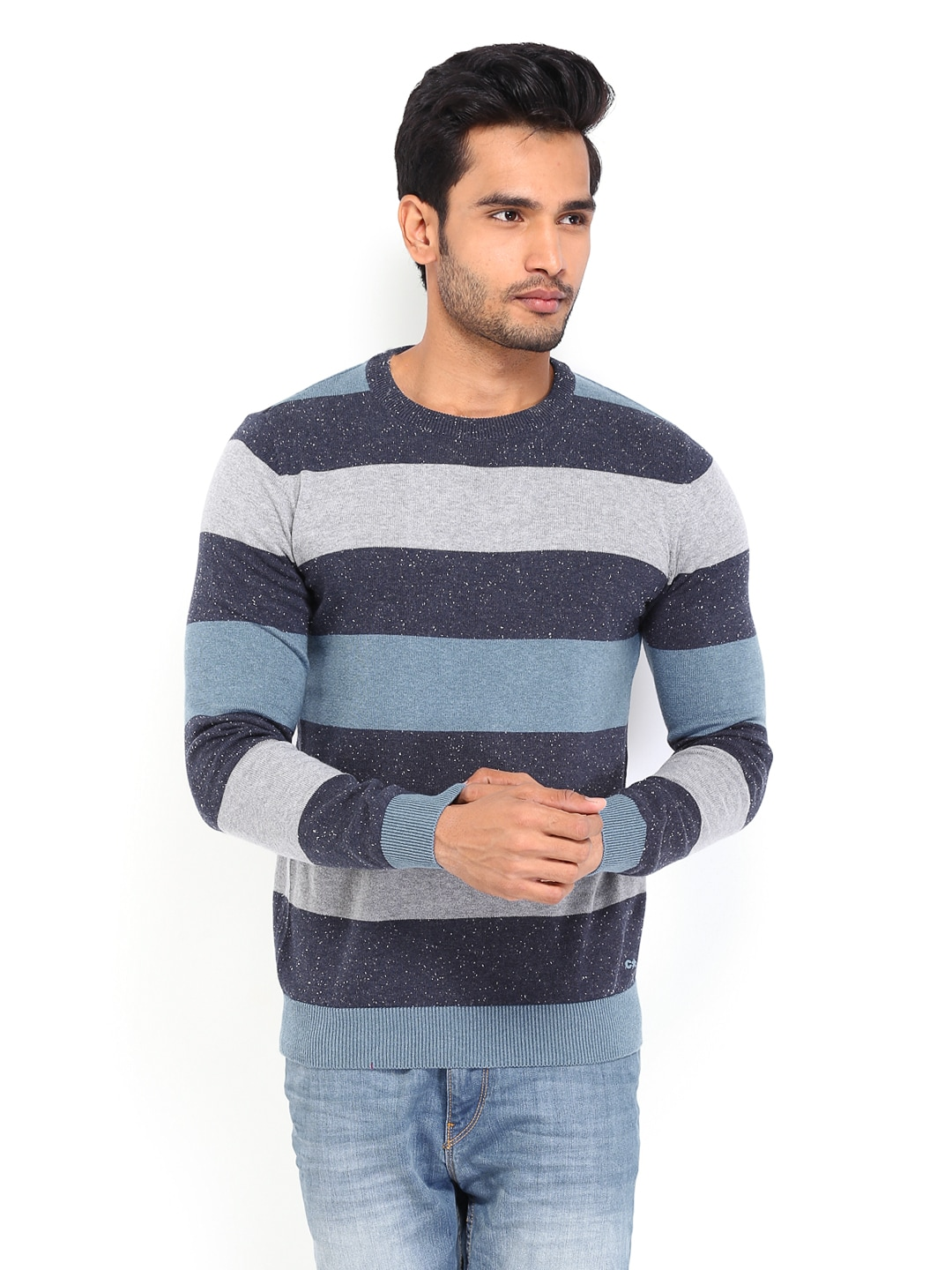 Buy Celio Men Blue & Grey Striped Sweater (multicolor) 1373806 for ...