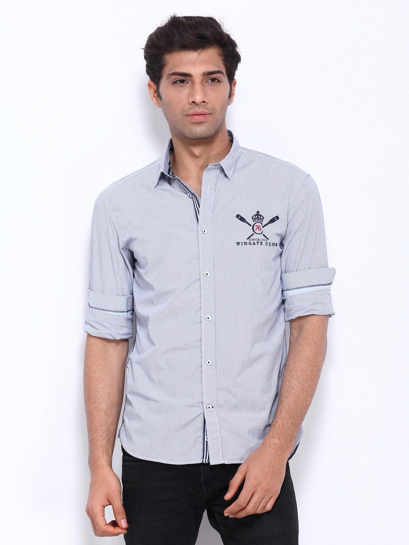 Celio Men Blue & White Striped Casual Shirt
