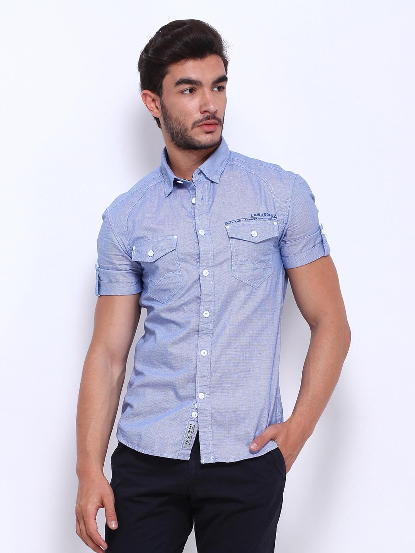Celio Men Blue Slim Fit Casual Shirt