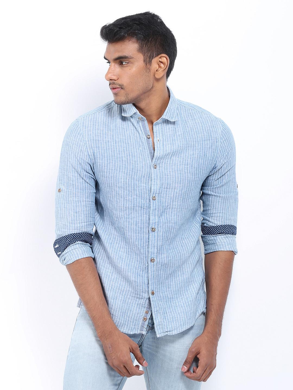 Celio Men Blue Striped Linen Slim Fit Casual Shirt