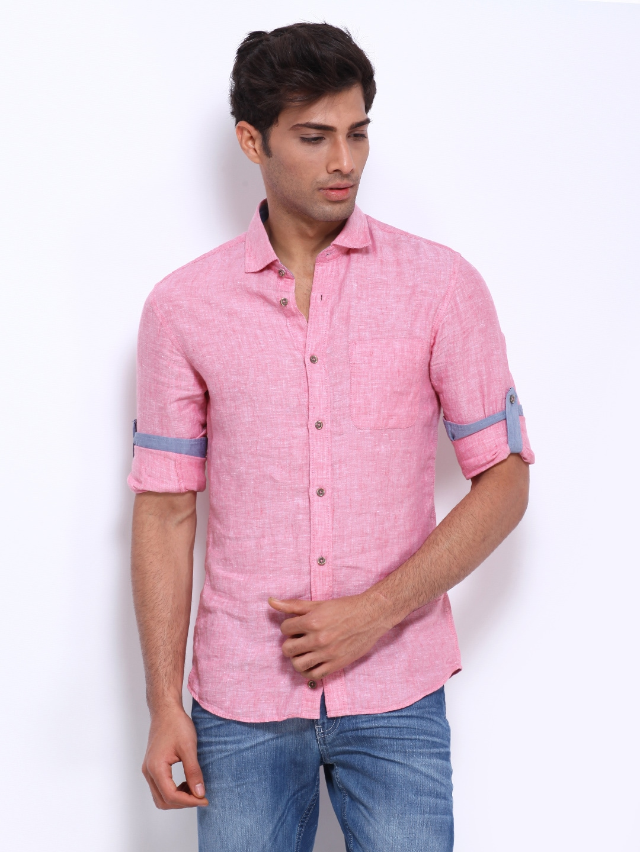 Celio Men Pink Linen Slim Fit Casual Shirt