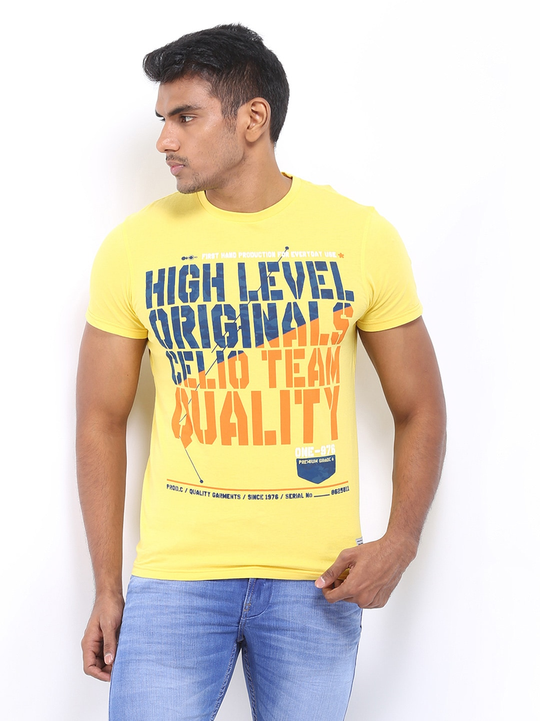 Celio Men Yellow Printed T-shirt