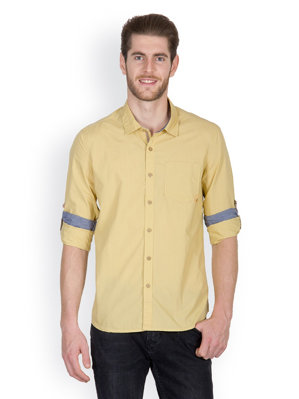 Mustard Chewingum Men Mustard Casual Shirt (Yellow)