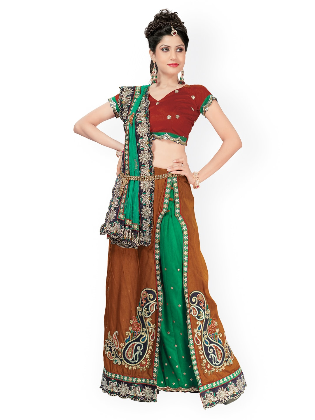 Chirag Sarees Chirag Sarees Green & Brown Lehenga Fashion Saree (Multicolor)