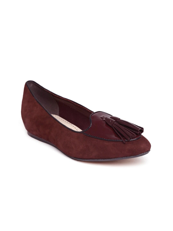 Clarks Women Maroon Suede Flat Shoes