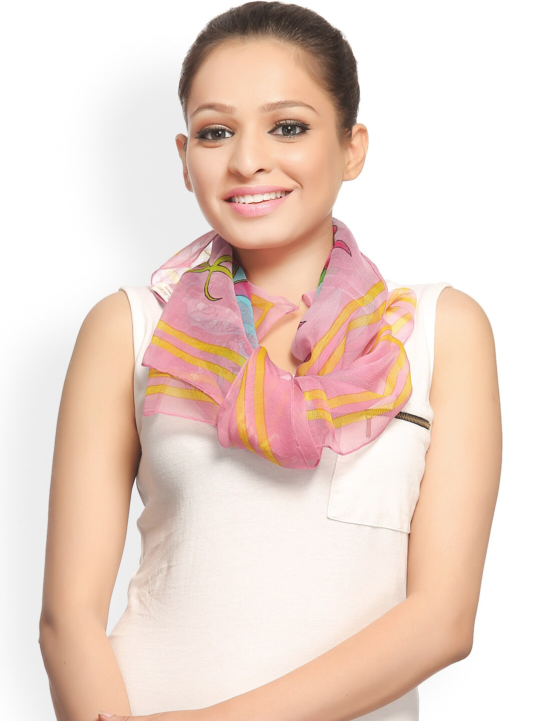 CoolThreads Women Pink Printed Silk Scarf