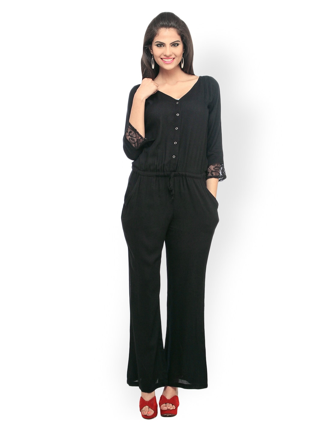 Cottinfab Women Black Jumpsuit