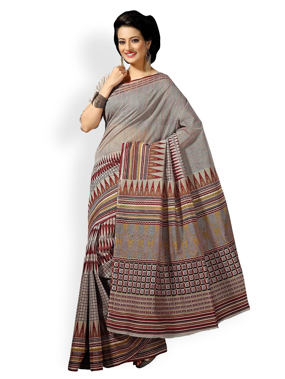 Cotton Bazaar Grey Printed Cotton Fashion Saree (multicolor)