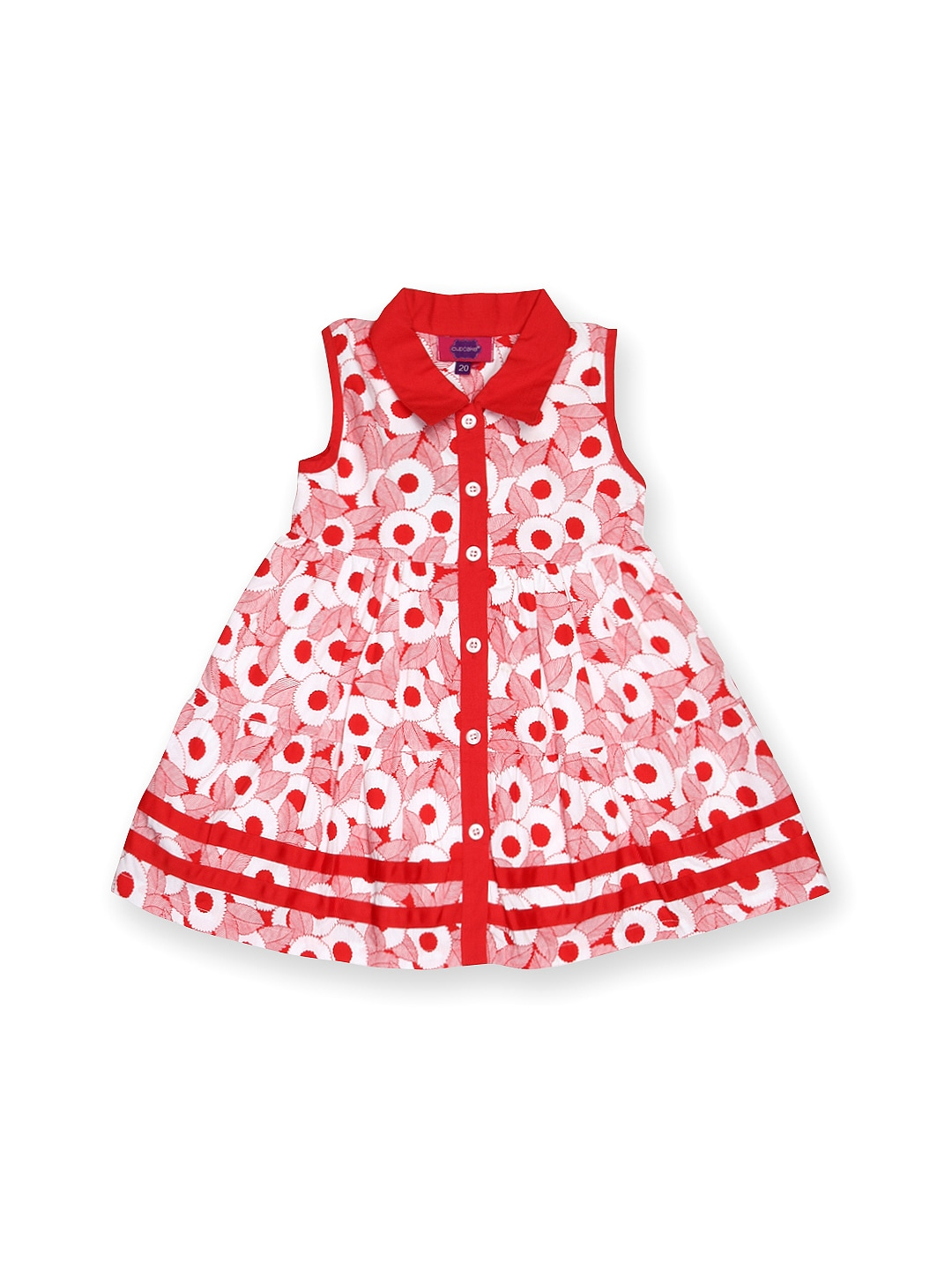 Red Cupcake Girls Red & White Printed Shirt Dress (Multicolor)