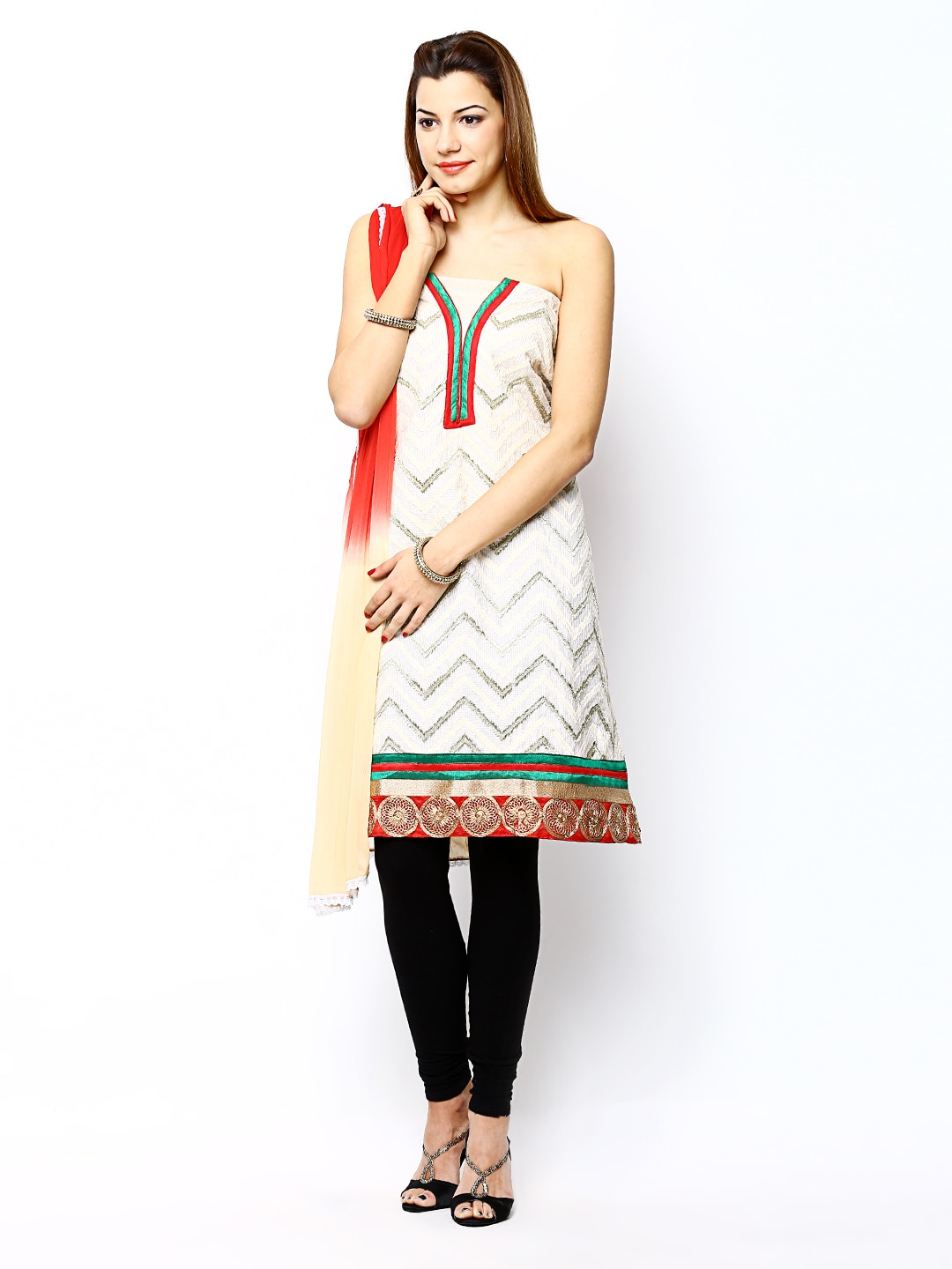 Red Curtsey Cream-Coloured & Red Embroidered Semi-Stitched Dress Material (Yellow)