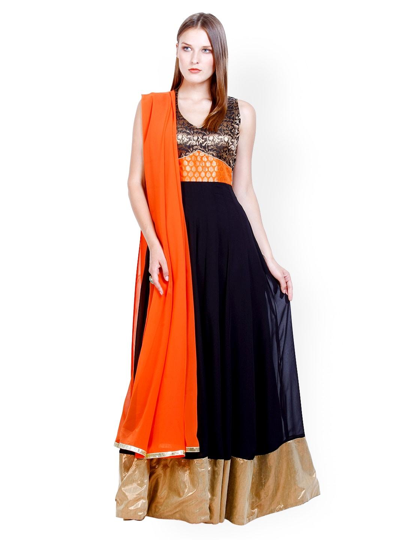 D&S Black & Orange Anarkali Semi-Stitched Dress Material (multicolor)
