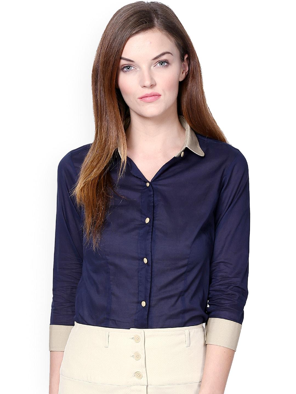 Buy Dazzio Women Blue Modern Fit Formal Shirt - 320 - Apparel For Women - 675526