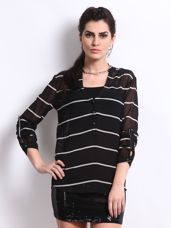 Deal Jeans Women Black & White Striped Top (multicolor)