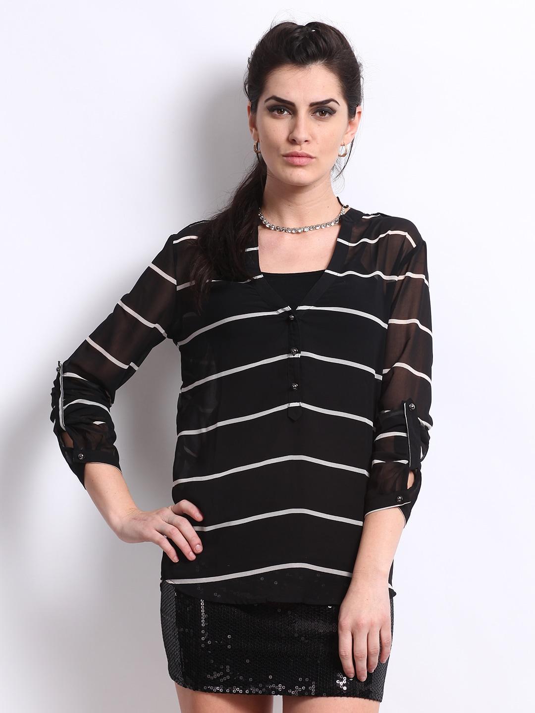 Deal Jeans Women Black  White Striped Top