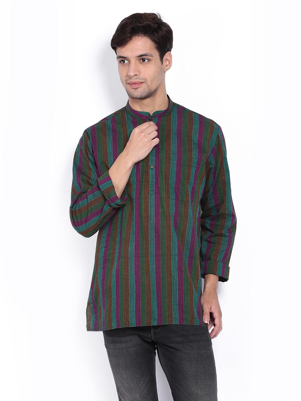 Dennis Morton Men Green & Purple Striped Short Kurta