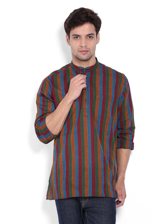 Dennis Morton Men Multi-Coloured Striped Short Kurta