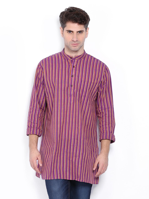 Dennis Morton Men Purple & Orange Striped Kurta