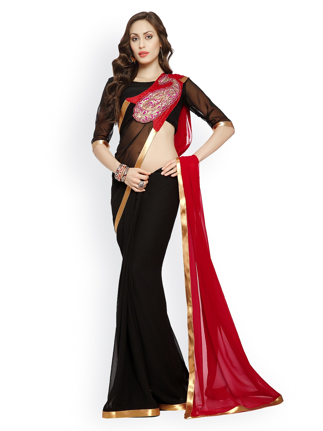 Designersareez Black  Red Embroidered Georgette Partywear Saree
