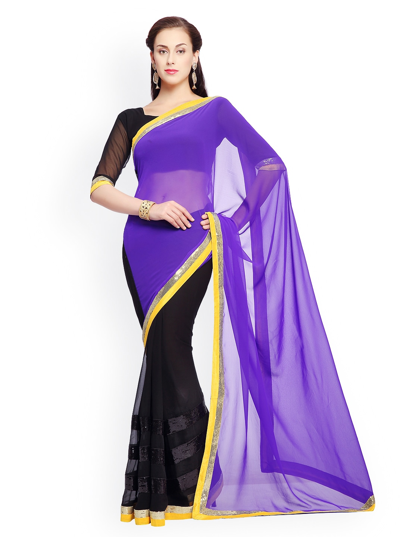 Designer Sareez Designersareez Blue & Black Embroidered Faux Georgette Partywear Saree (Multicolor)
