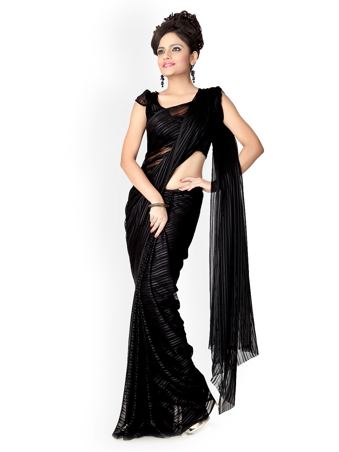 Designersareez Black Chiffon Fashion Saree (multicolor)
