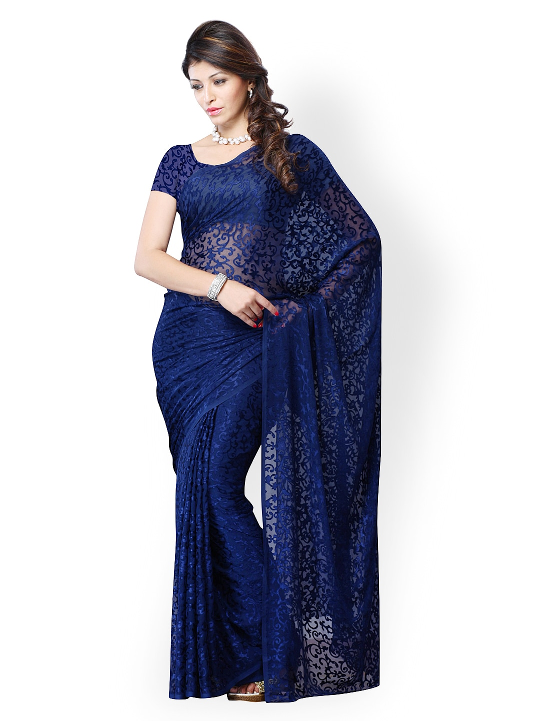 Buy Diva Fashion Navy Blue Brasso Fashion Saree 495